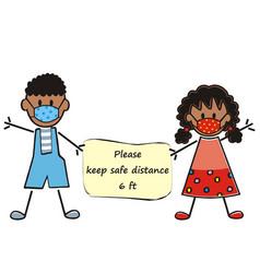 african kids banner safe distance vector image