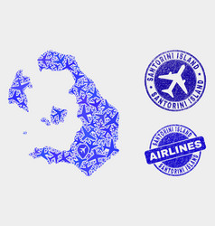 Airline collage santorini island map and vector
