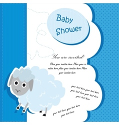 Baby shower card design with lamb vector image