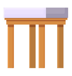 Backless chair icon cartoon outdoor wood vector