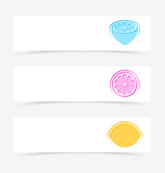 banners with colorful lemon signs vector image