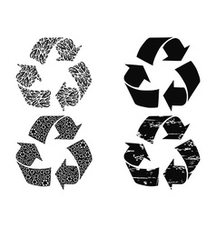 Black recycling symbol vector