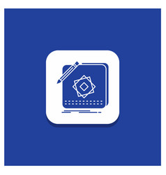 blue round button for design app logo application vector image