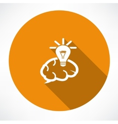 Brain Icon with Light Bulb vector image