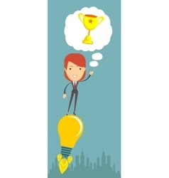 Business woman flying on the light bulb vector
