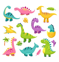 Cartoon dinosaur cute baby dino vector