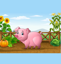 Cartoon pig with farm background vector
