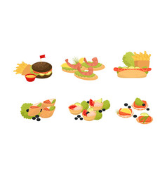Catering snacks canapes and apperizers on banquet vector