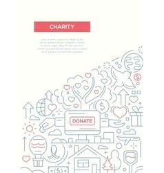 Charity - line design brochure poster template a4 vector
