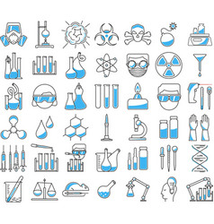 Chemistry icons in linear style vector