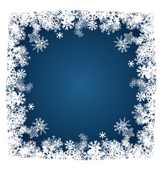 christmas card snowflakes frame on blue vector image