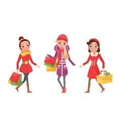 Christmas shopping female girlfriends shoppers vector