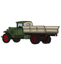 Classic green lorry truck vector