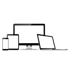 Computer display laptop tablet mobile phone mockup vector