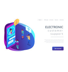 Customer self-service isometric 3d landing page vector