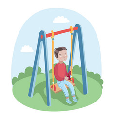 cute happy boy swinging on swings in park vector image