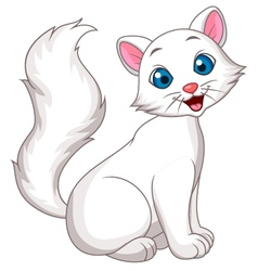Cute white cat cartoon sitting vector
