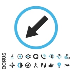Down-Left Rounded Arrow Flat Icon With vector image