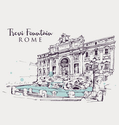 Drawing sketch trevi fountain in rome vector