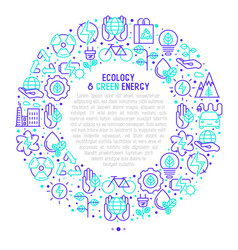 ecology and green energy concept in circle vector image