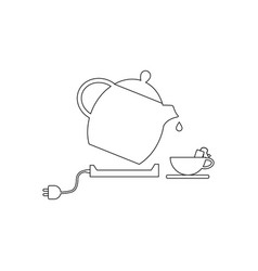 electric kettle and tea cup vector image