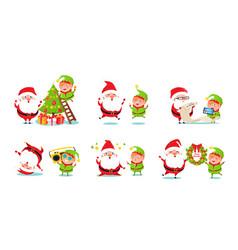 elf and santa claus icons vector image