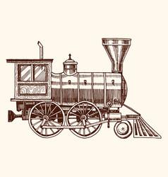 engraved vintage hand drawn old locomotive vector image