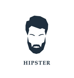face of a hipster with a hair and beard vector image