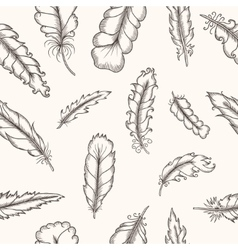 feathers seamless pattern hand drawn vintage vector image