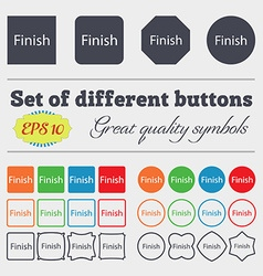 Finish sign icon Power button Big set of colorful vector