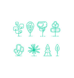 Flat linear tree icons set vector