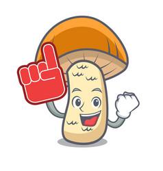 foam finger orange cap boletus mushroom mascot vector image