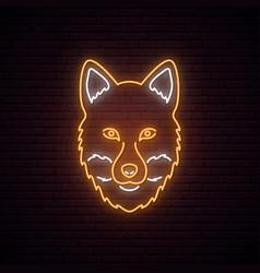fox glowing neon sign on dark brick wall vector image