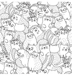 funny cats black and white seamless pattern vector image