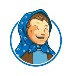 Grandma or granny mascot character with veil logo vector