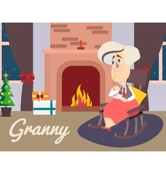 Granny sitting in armchair vector