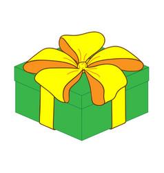 green close gift box sign 2712 vector image