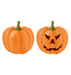halloween pumpkin set with angry face carving vector image