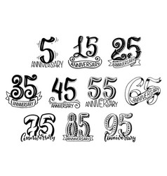 Hand lettering for anniversary year numbers vector