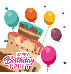 Happy birthday cake card vector