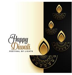 Happy diwali premium holiday greeting card design vector