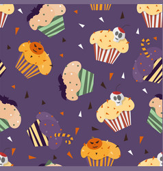 happy halloween cupcakes with cute halloween vector image