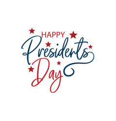 happy presidents day with stars and ribbon hand vector image