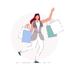 happy shopper isolated happy shopper vector image