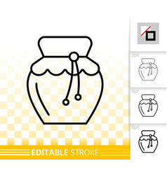 Honey jar simple black line icon vector