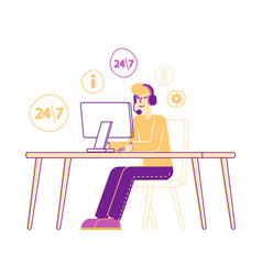 hotline call center customer service character in vector image