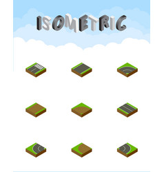 isometric way set of sand unilateral bitumen vector image