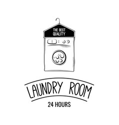 laundry room label badge logo with hanger vector image