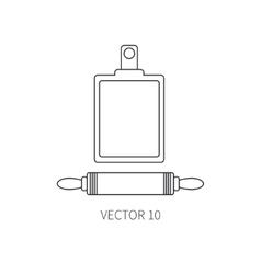 Line flat kitchenware icons plunger vector
