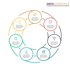 Linear infographics Chart with 7 steps options vector